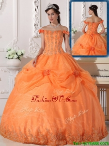 Custom Made Off The Shoulder Sweet 16 Dresses with Appliques and Hand Made Flowers