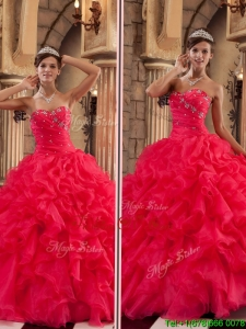 Custom Made Red Sweetheart Quinceanera Gowns with Ruffles