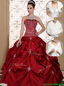 Designer Strapless Quinceanera Gowns with Embroidery and Pick Ups