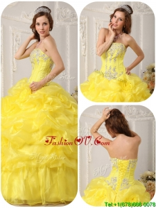 Fall Custom Made Beading and Ruffles Quinceanera Dresses in Yellow