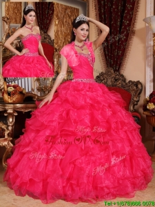 Fashionable Beading Coral Red Quinceanera Gowns with Sweetheart