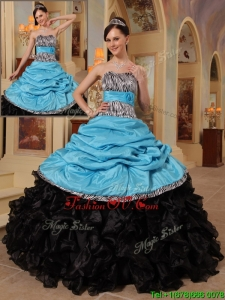 New Style Blue and Black Ball Gown Strapless Quinceanera Dresses