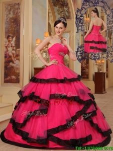 2016 Beautiful Ball Gown Strapless Beading Quinceanera Dresses