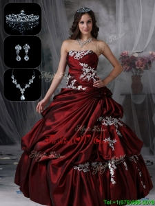 2016 Lovely Strapless Quinceanera Dresses in Burgundy