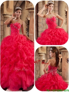 2016 New Arrivals Coral Red Ball Gown Floor Length Ruffles Quinceanera Dresses