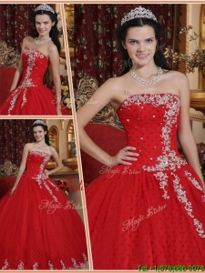 2016 Spring Latest Red Ball Gown Strapless Quinceanera Dresses