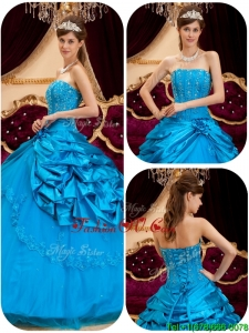 2016 Spring Lovely Teal Quinceanera Gowns with Appliques and Beading