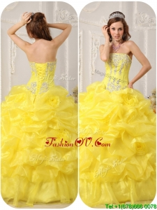 Designer Strapless Beading and Ruffles Quinceanera Gowns