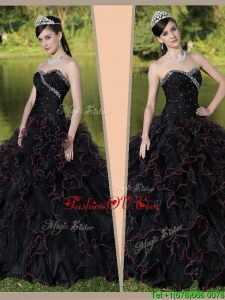 Designer Sweetheart Quinceanera Gowns with Ruffles Layered and Beading