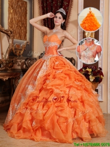 Exclusive Orange Red Ball Gown Quinceanera Dresses with Beading