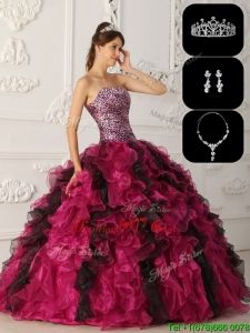 Exquisite Organza Ruffles Quinceanera Gowns in Multi Color