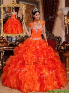 Fall Latest Appliques and Beading Quinceanera Dresses in Orange