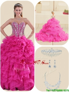 Fall New Style Fuchsia Quinceanera Gowns with Ruffles and Beading