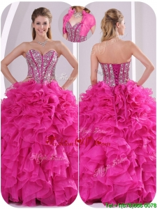 Fall Popular Ruffles and Beading Quinceanera Gowns in Fuchsia