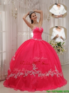 Fall Popular Sweetheart Appliques Quinceanera Gowns in Coral Red
