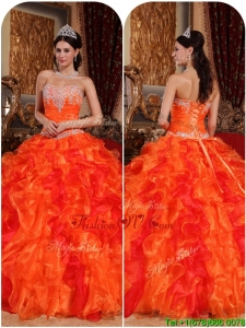 Lovely Orange Quinceanera Gowns with Appliques and Beading