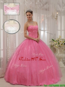 Lovely Sweetheart Beading Quinceanera Gowns in Pink