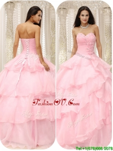 Modern 2016 Sweetheart Ruffles Quinceanera Dresses in Baby Pink