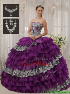 Modern Purple Sweetheart Quinceanera Dresses with Beading