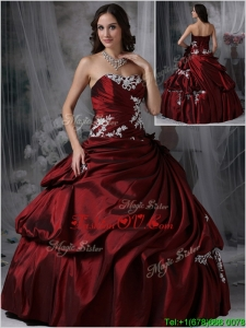Modern Strapless Burgundy Quinceanera Gowns with Appliques