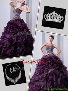New Arrivals Brush Train Sweet 16 Dresses with Beading and Ruffles