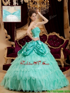 Spring Classical Pick Ups and Ruffles Quinceanera Dresses with Strapless