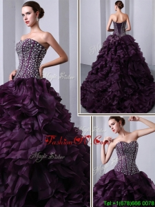 Spring Fashionable Sweetheart Beading and Ruffles Quinceanea Dresses with Brush Train