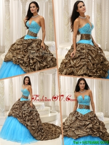 Summer Elegant Beading Sweetheart Quinceanera Dresses with Brush Train
