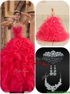 2016 Modern Coral Red Quinceanera Dresses with Beading and Ruffles