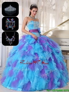 2016 New style Multi Color Sweet 16 Gowns with Beading and Appliques