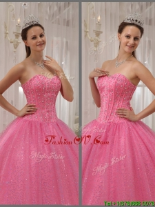 2016 New style Pink Sweetheart Quinceanera Dresses with Beading