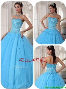 Fall Exclusive Sky Blue Ball Gown Floor Length Quinceanera Dresses