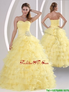 Fall Inexpensive Appliques and Ruffled Layers Quinceaners Gowns