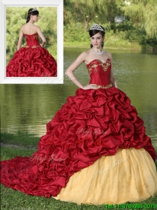 Fall Modern Appliques and Pick Ups Brush Train Quinceanera Dresses