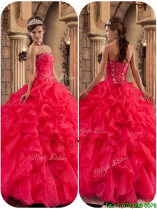Modern Beading and Ruffles Quinceanera Dresses in Coral Red