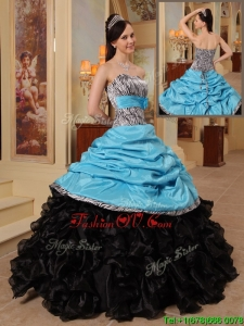 Modern New Arrivals Strapless Quinceanera Gowns with Ruffles and Pick Ups