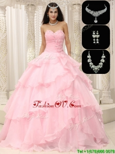 New style Beading and Ruffles Sweet 16 Dresses in Baby Pink