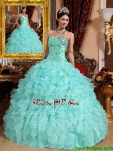 Spring Modern Beading and Ruffles Quinceanera Dresses in Apple Green