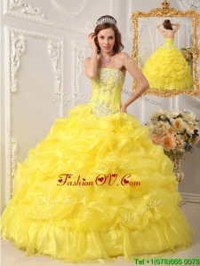 Elegant Ball Gown Strapless Floor Length Quinceanera Dresses