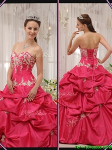 Fall Cheap Sweetheart Appliques Quinceanera Gowns with in Coral Red
