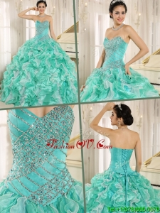 Fall Pretty Brand New Apple Green Quinceanera Dresses with Beading and Ruffles