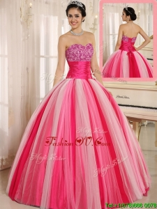 Hot Sale Multi Color Strapless Lace Up Quincanera Dresses