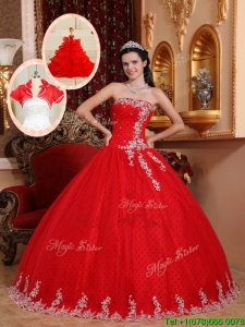 New Style Ball Gown Appliques Quinceanera Dresses in Red