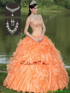 New style Orange Quinceanera Dresses with Beading and Ruffles Layered