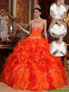 Pretty 2016 Spring Sweetheart Beading Sweet 15 Dresses in Orange