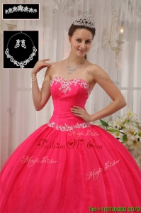 Pretty Ball Gown Appliques Quinceanera Dresses in Coral Red