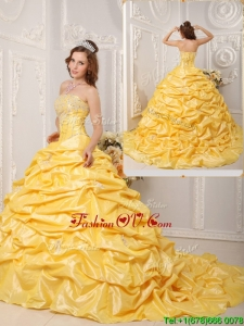 Pretty Ball Gown Court Train Appliques and Beading Quinceanera Dresses