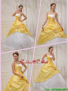 Pretty Ball Gown Strapless Quinceanera Dresses in Yellow