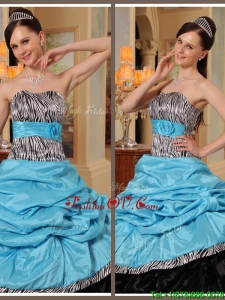 Summer Beautiful Ruffles Strapless Quinceanera Gowns in Blue and Black