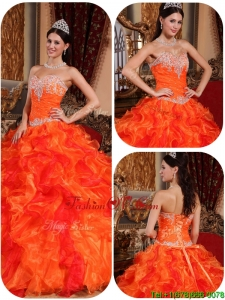 Exclusive Appliques and Beading Orange Sweet Sixteen Dresses